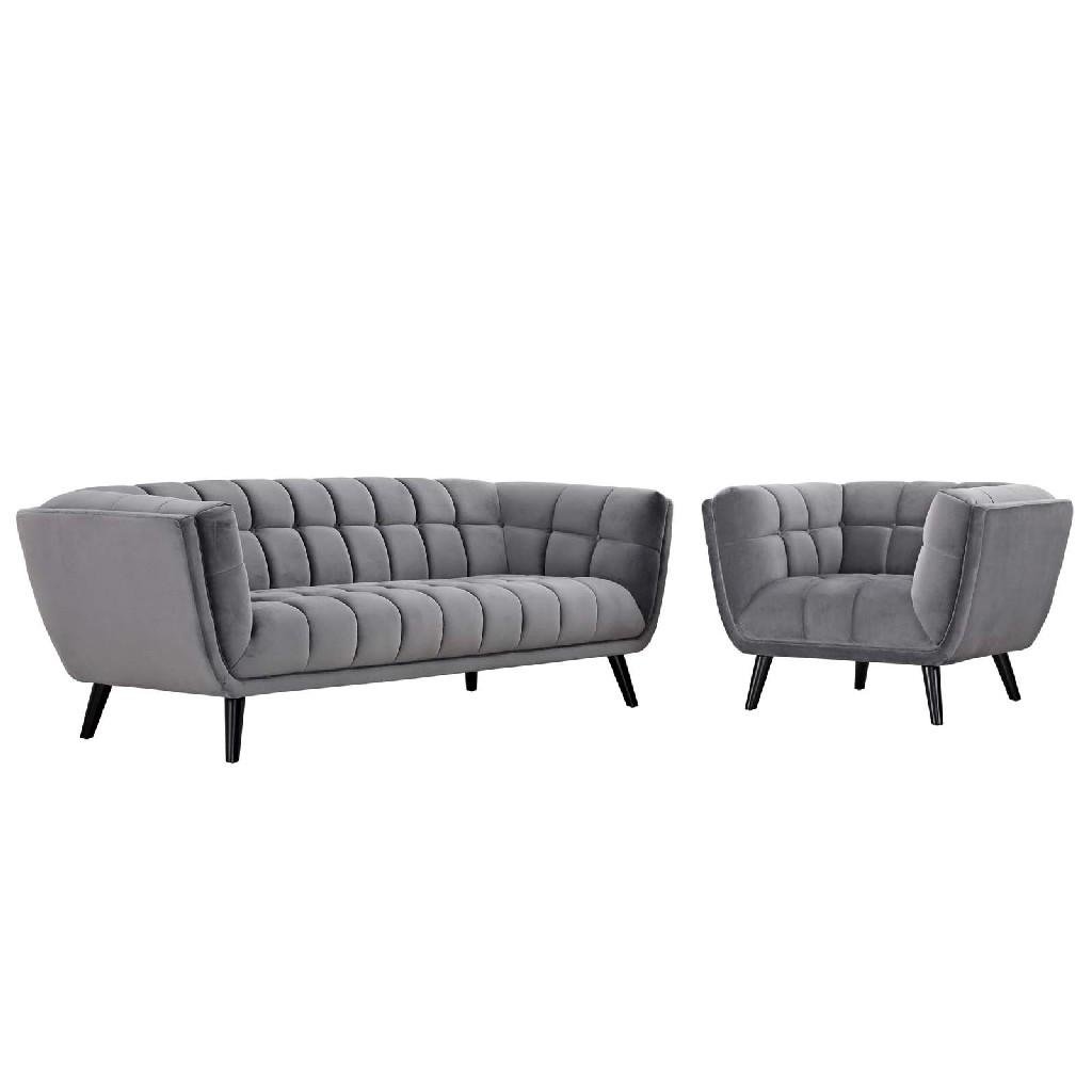 East End Velvet Sofa Armchair Set Gry Set