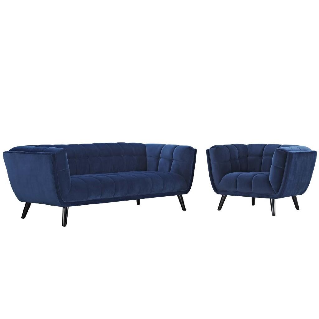 East End Velvet Sofa Armchair Set Nav Set