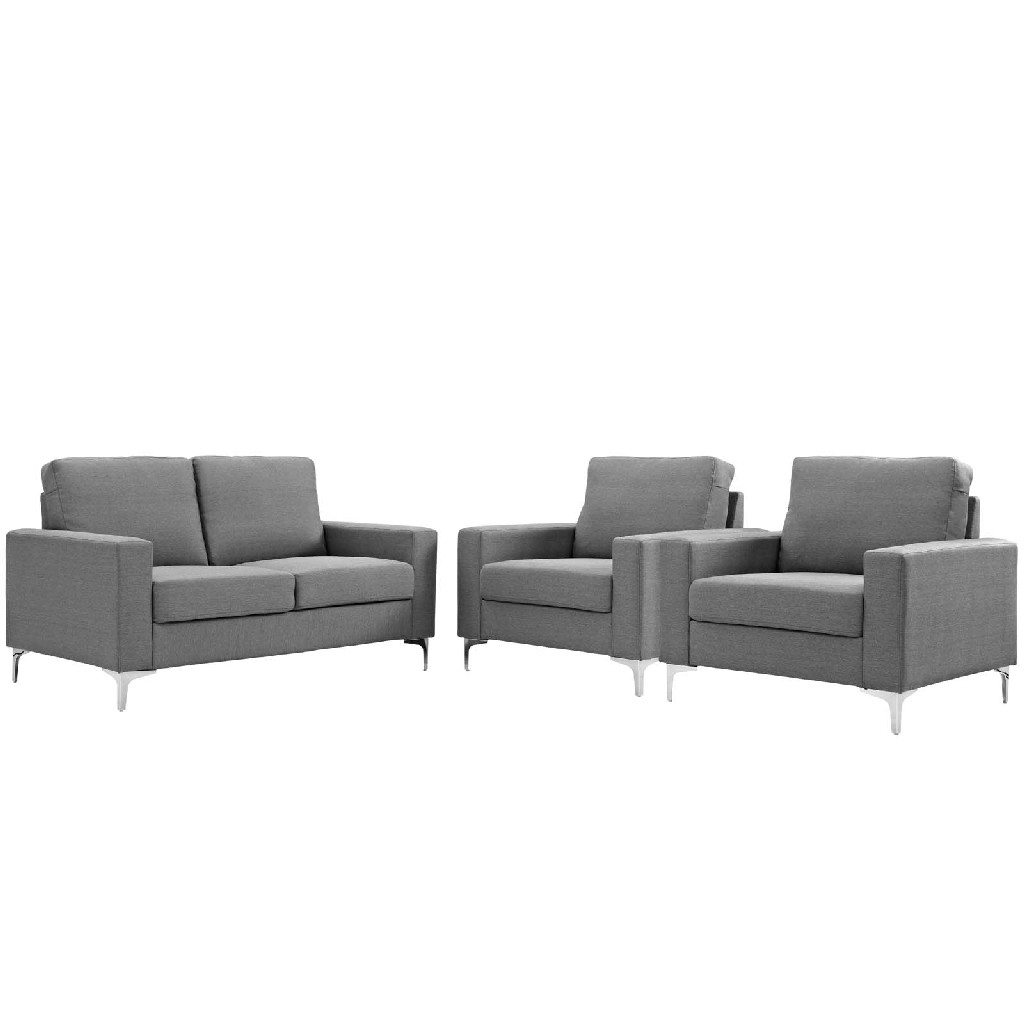 Allure 3 Piece Sofa and Armchair Set EEI-2985-GRY-SET