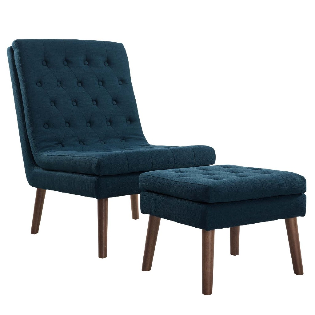 East End Imports Modify Upholstered Lounge Chair and Ottoman EEI-2988-AZU