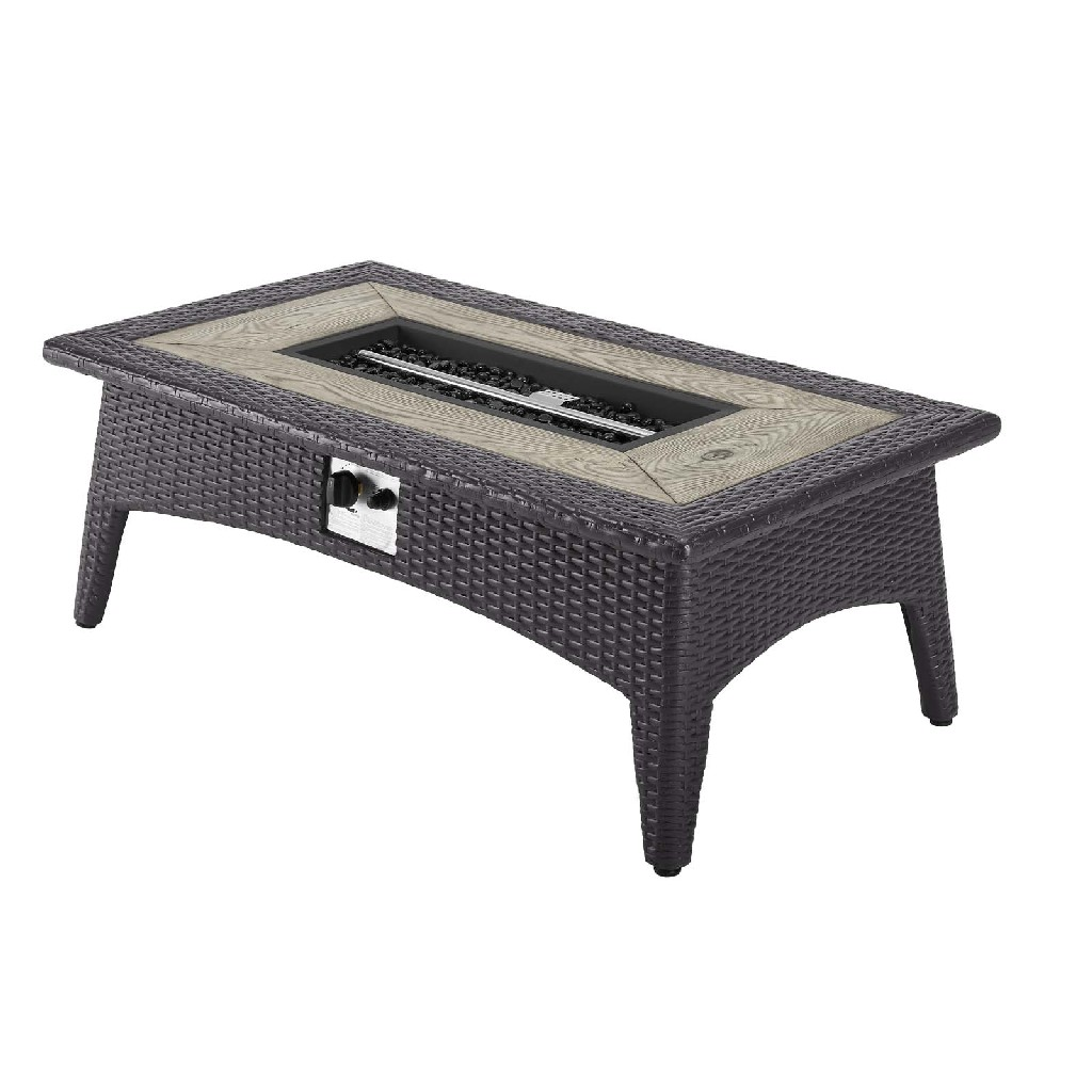 East End Splender Rectangle Outdoor Patio Fire Pit Table Exp