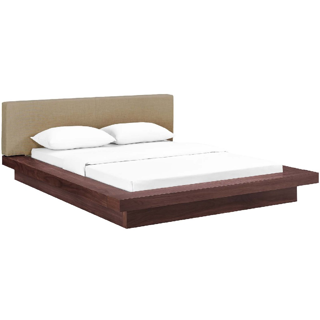 Modway Queen Fabric Platform Bed Wal Lat Set