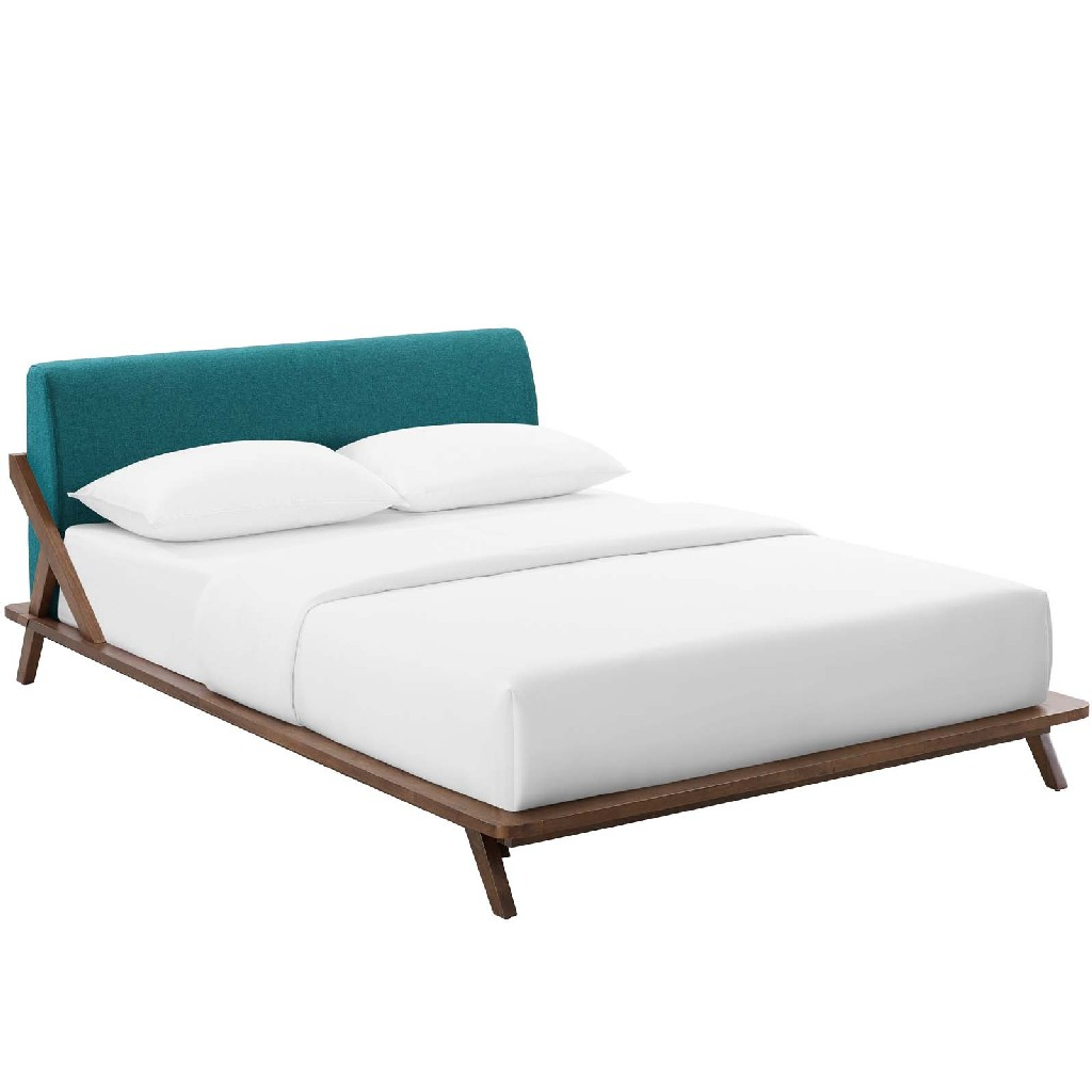 East End Queen Upholstered Fabric Platform Bed Mod Cap Tea
