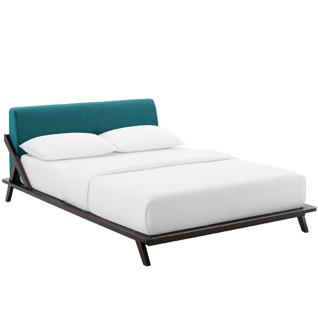 East End Queen Upholstered Fabric Platform Bed Mod Wal Tea