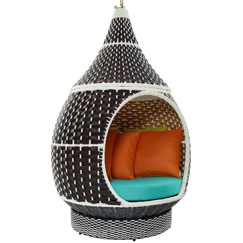 East End Palace Outdoor Patio Wicker Rattan Hanging Pod Brown Turquoise