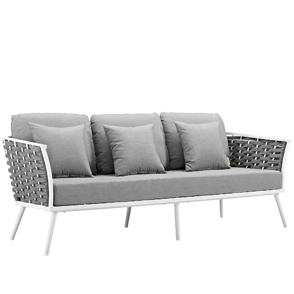 East End Stance Outdoor Patio Aluminum Sofa White Gray