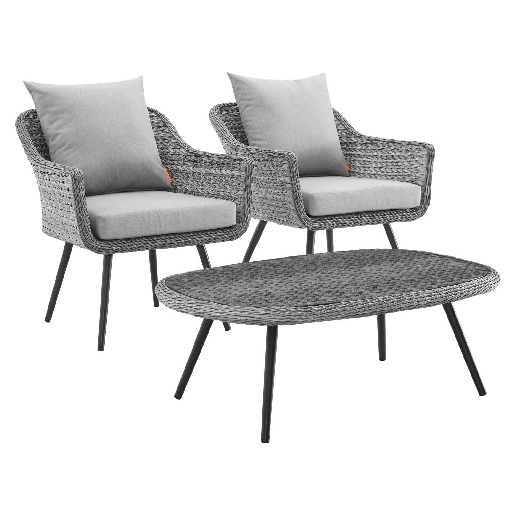 East End Endeavor Outdoor Patio Wicker Rattan Sectional Sofa Set Gray Gray