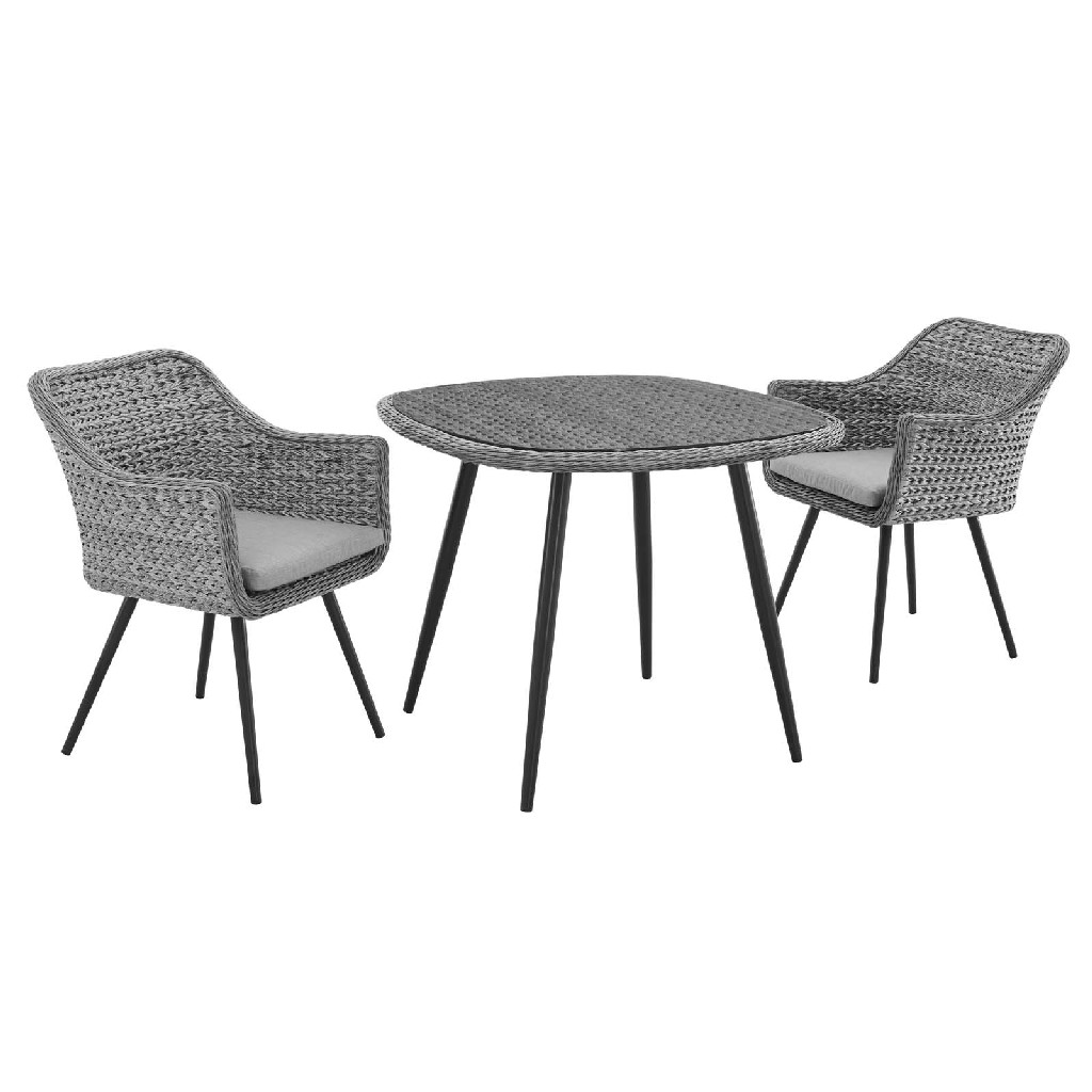 East End Endeavor Outdoor Patio Wicker Rattan Dining Set Gray Gray