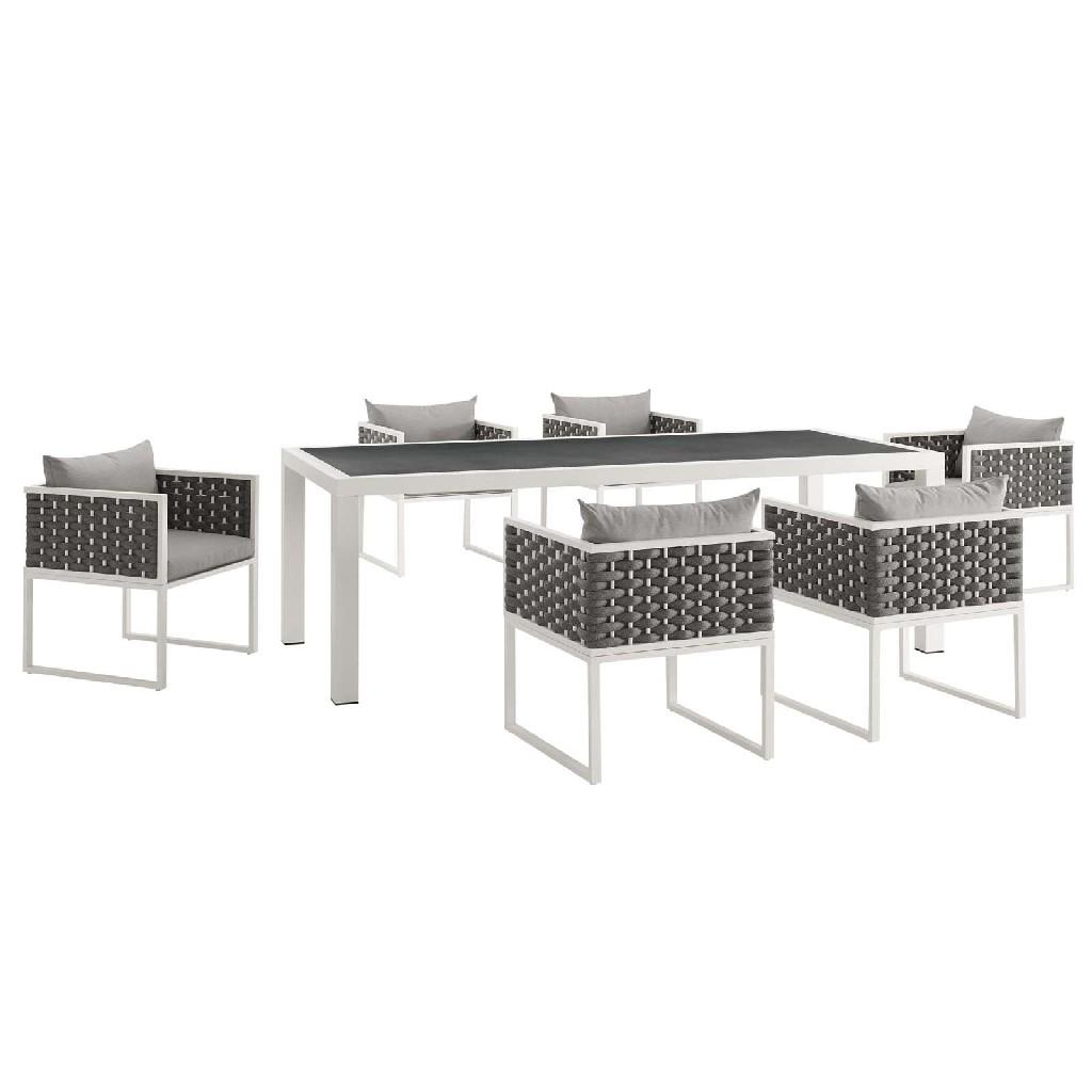 Patio Aluminum Dining Set White Gray