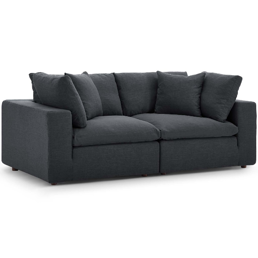 East End Commix Down Filled Overstuffed Sectional Sofa Set Gray