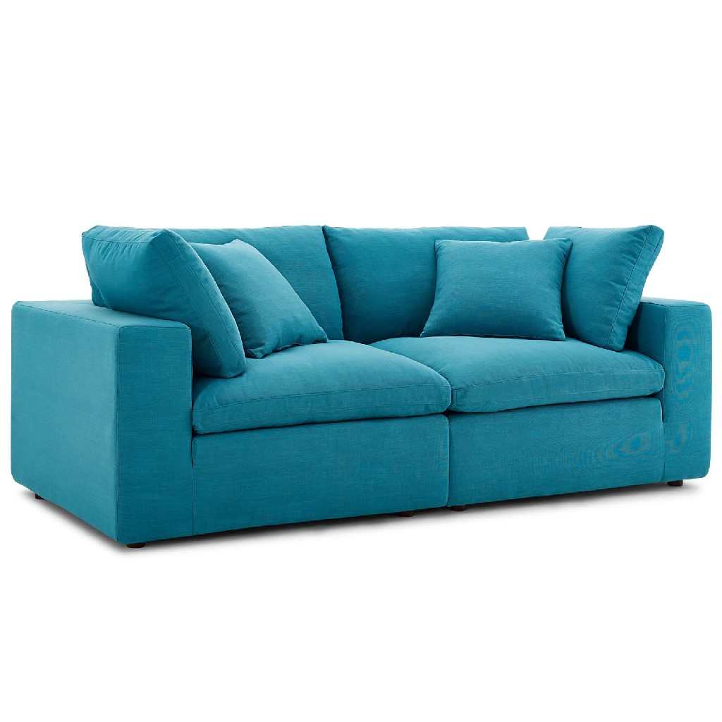 East End Commix Down Filled Overstuffed Sectional Sofa Set Teal
