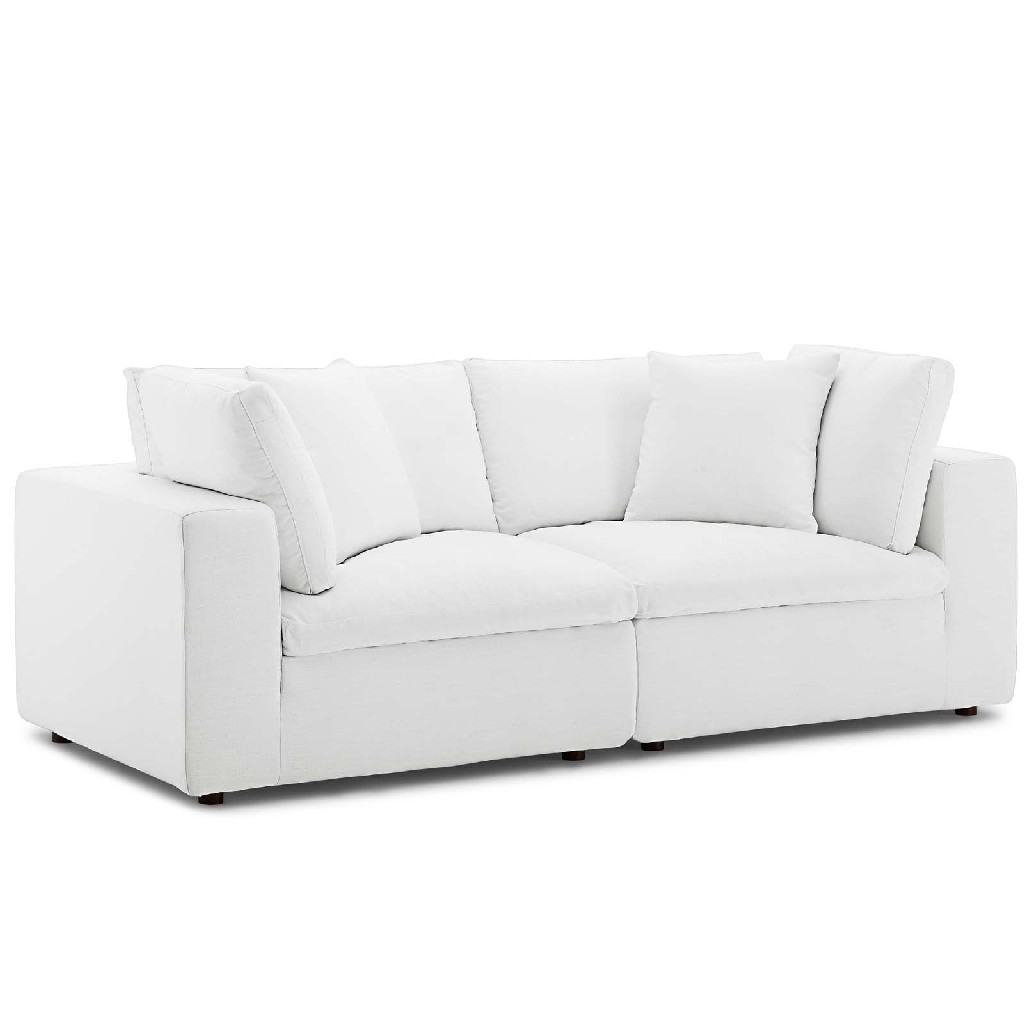 East End Commix Down Filled Overstuffed Sectional Sofa Set White