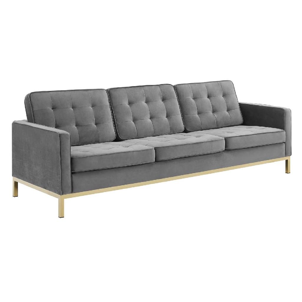 East End Loft Gold Stainless Steel Leg Performance Velvet Sofa Gold Gray