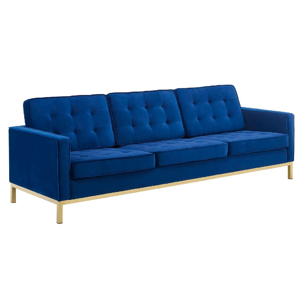 East End Loft Gold Stainless Steel Leg Performance Velvet Sofa Gold Navy