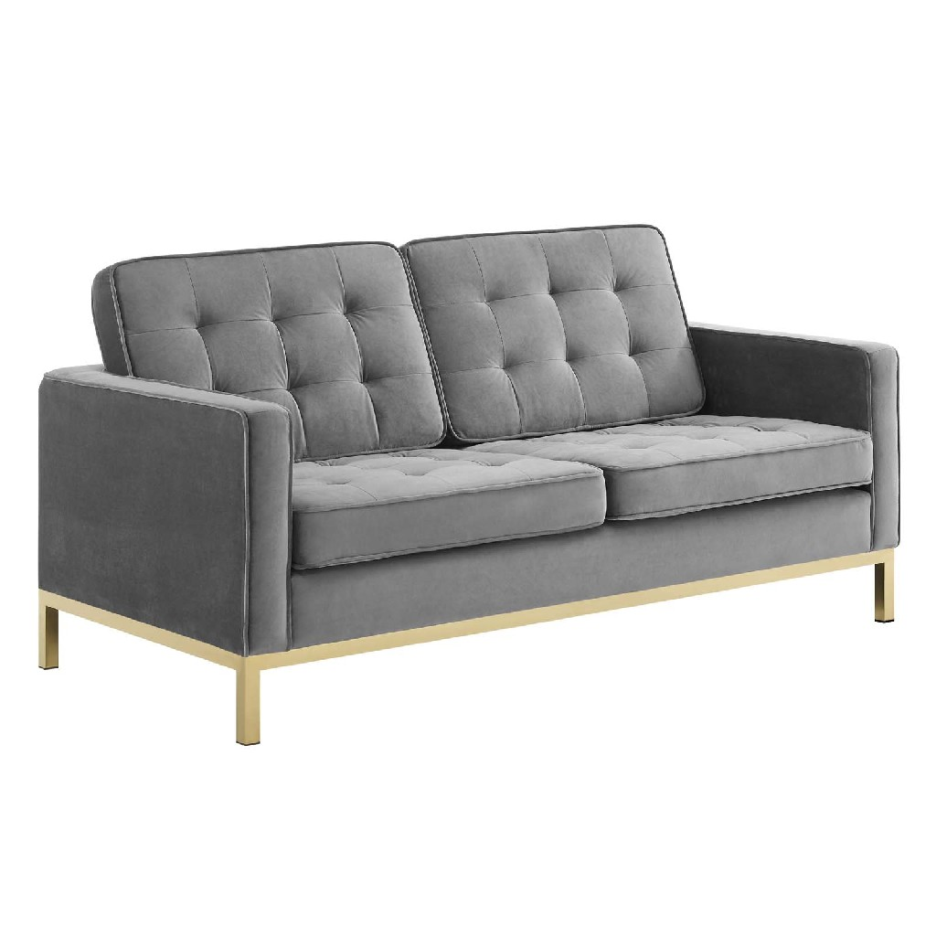 East End Loft Gold Stainless Steel Leg Performance Velvet Loveseat