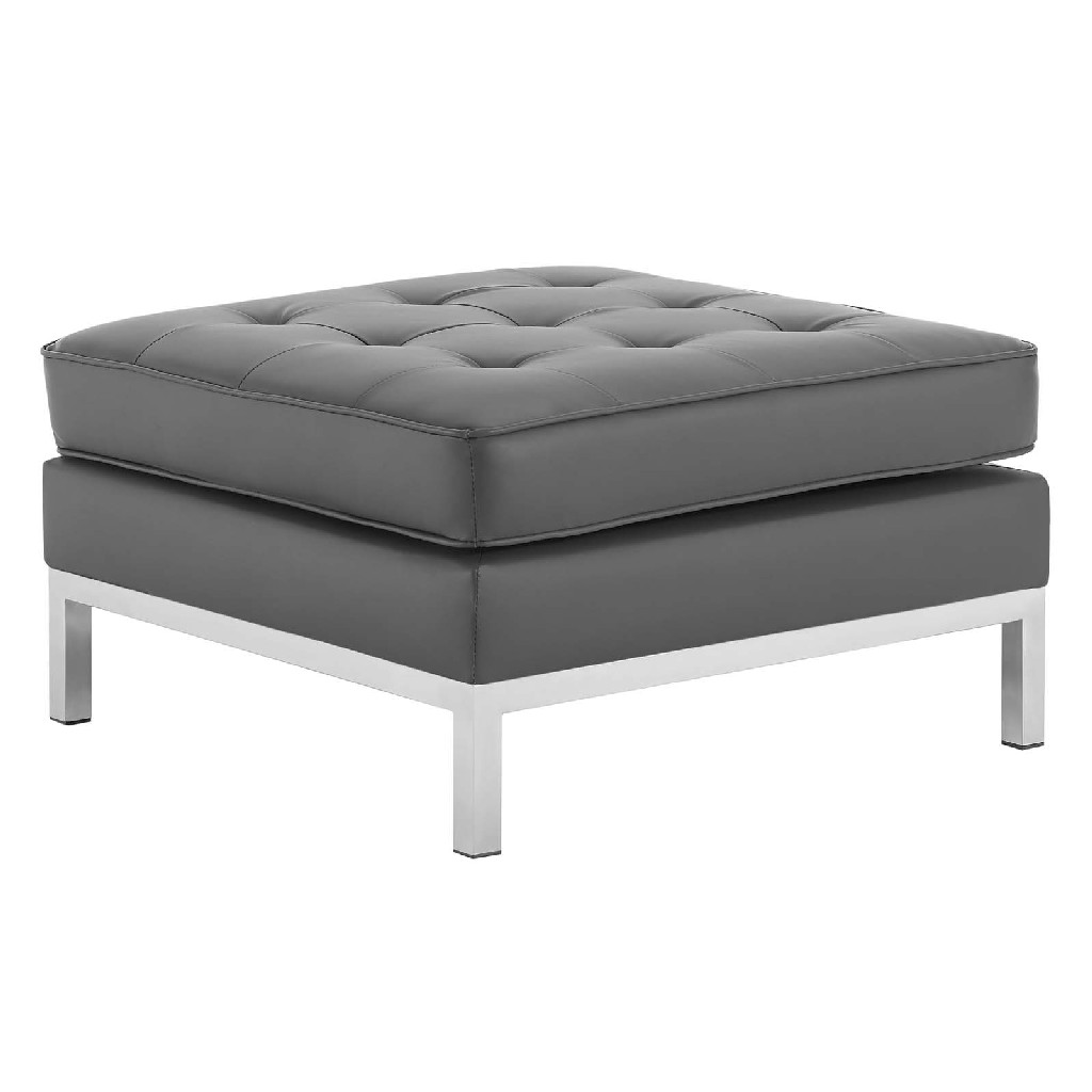 Upholster | Ottoman | Leather | Tufted | Button | Silver | East | Gray | Faux