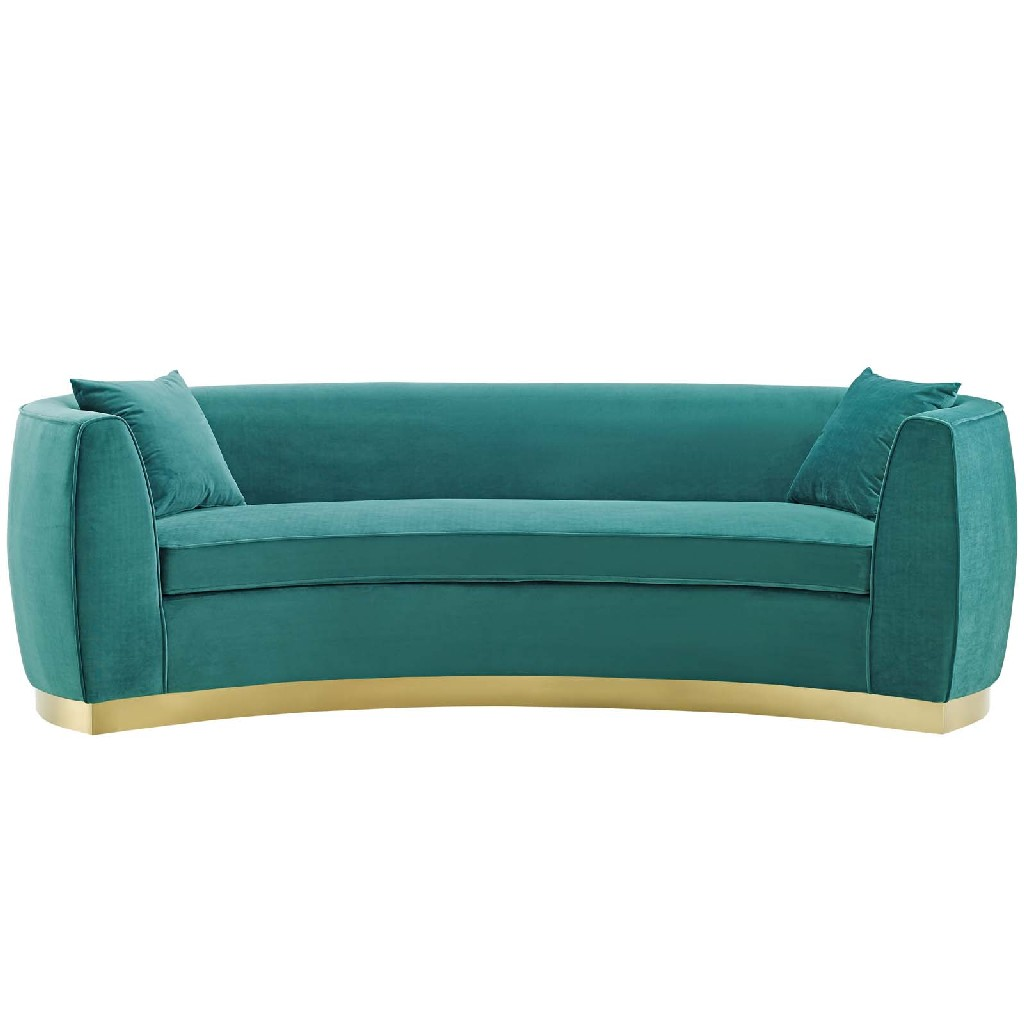 East End Resolute Curved Performance Velvet Sofa Teal