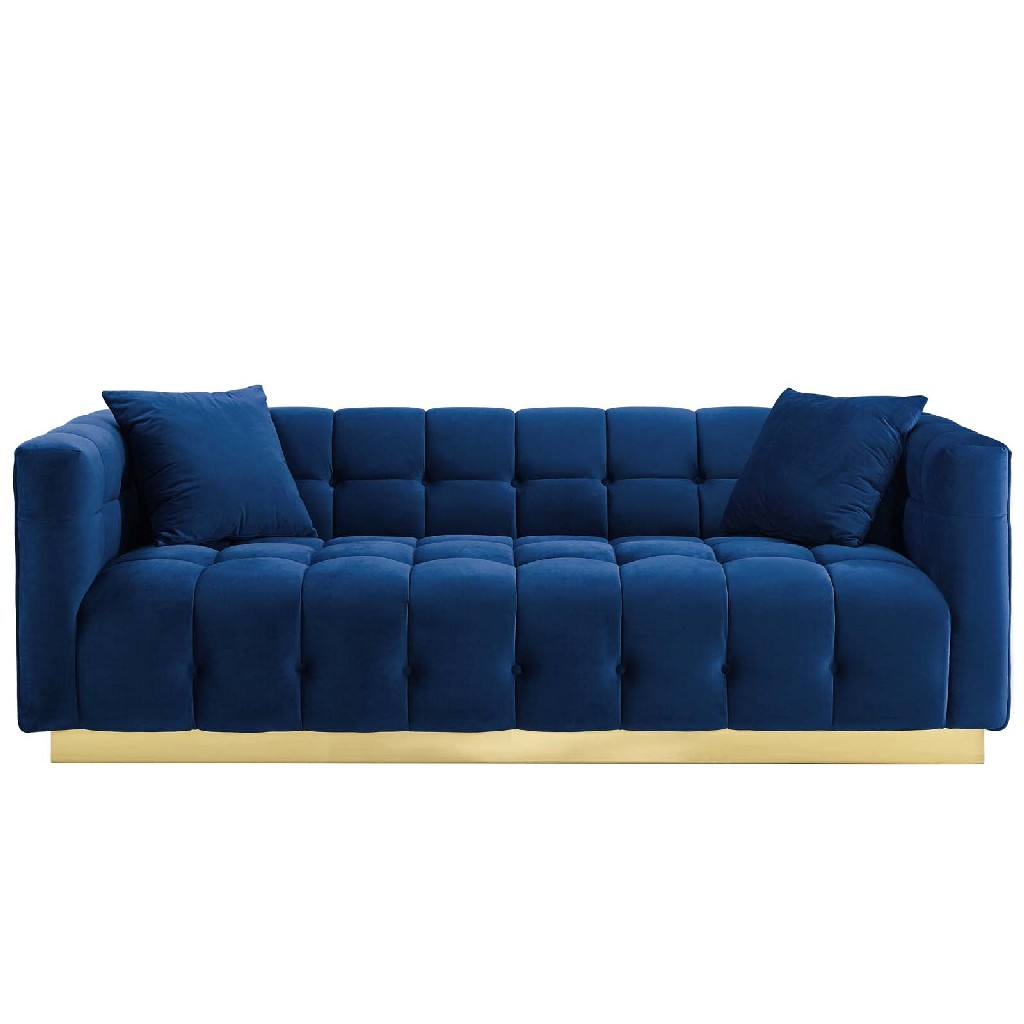 East End Vivacious Biscuit Tufted Performance Velvet Sofa Navy