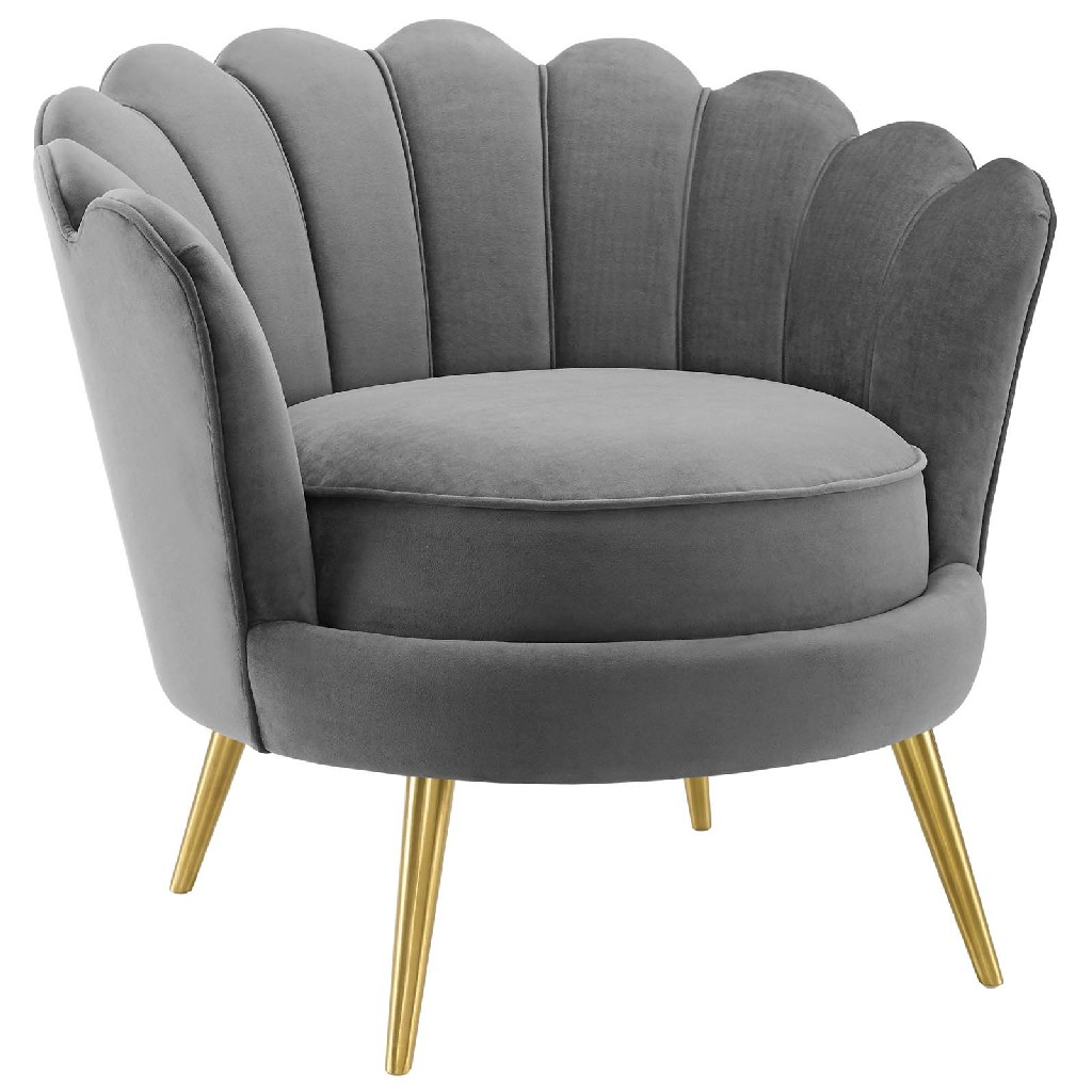 Admire Scalloped Edge Performance Velvet Accent Armchair in Gray - East End Imports EEI-3410-GRY