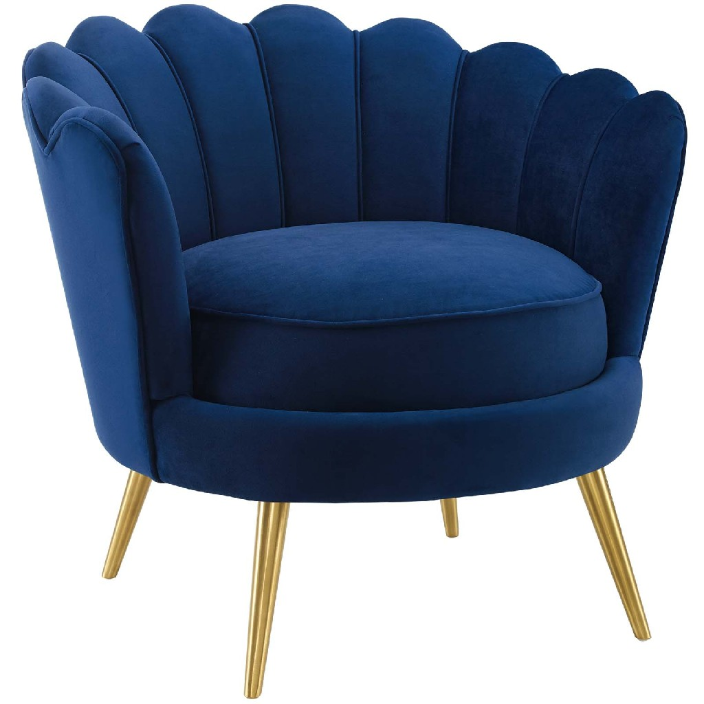 Admire Scalloped Edge Performance Velvet Accent Armchair in Navy - East End Imports EEI-3410-NAV