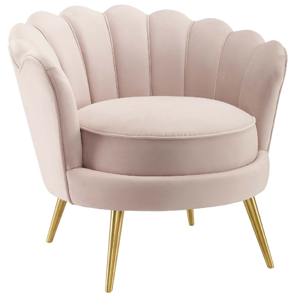 Admire Scalloped Edge Performance Velvet Accent Armchair in Pink - East End Imports EEI-3410-PNK