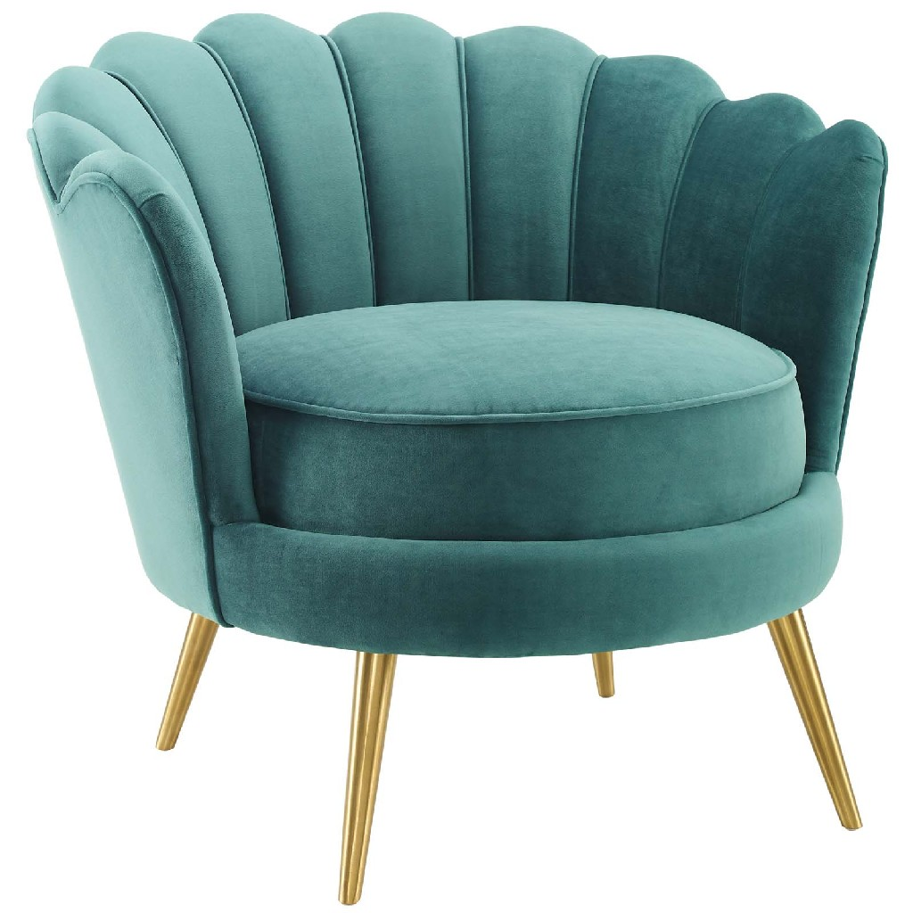 Admire Scalloped Edge Performance Velvet Accent Armchair in Teal - East End Imports EEI-3410-TEA