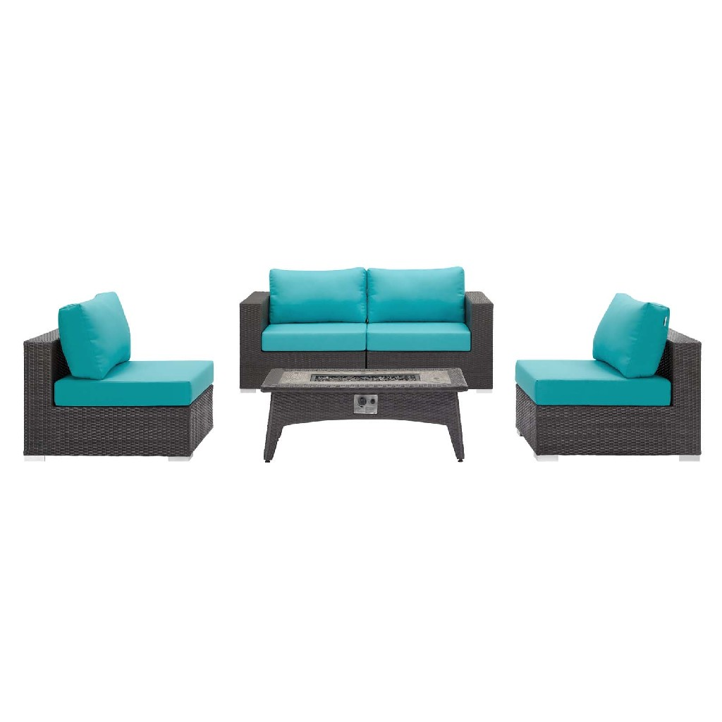 East End Set Outdoor Patio Fire Pit Espresso Turquoise