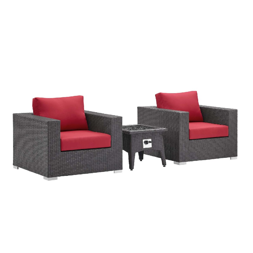 East End Set Outdoor Patio Fire Pit Espresso Red