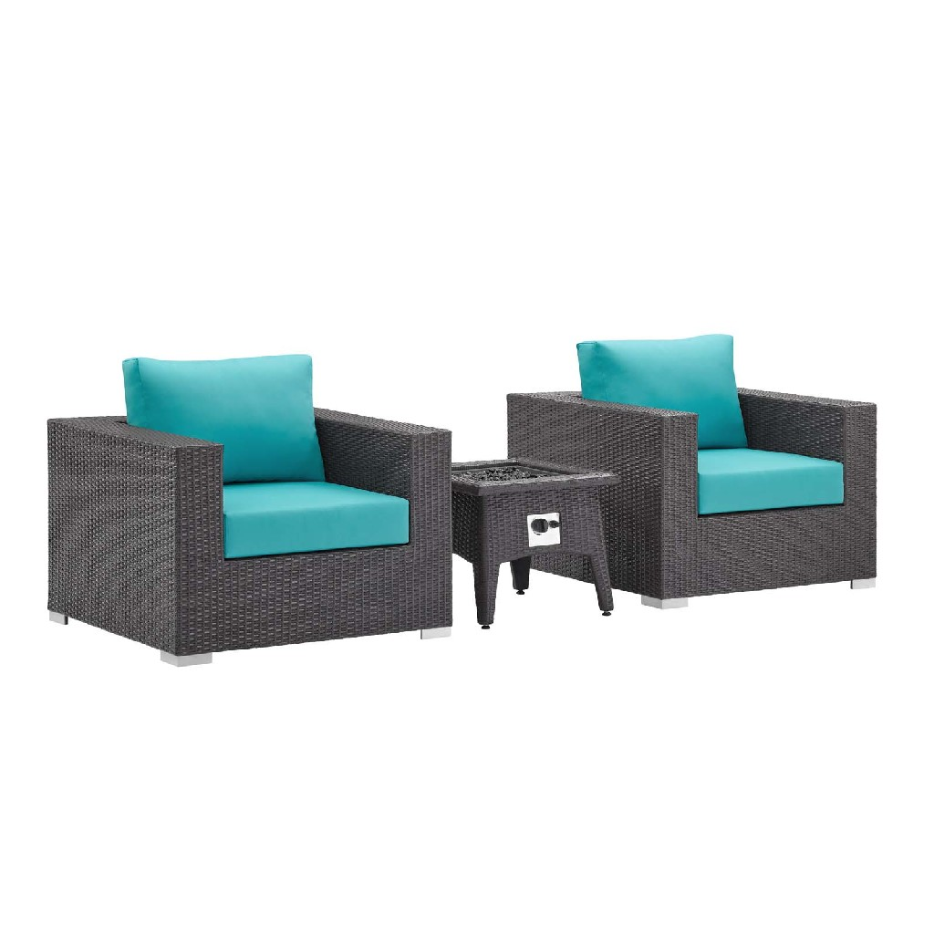 East End Set Outdoor Patio Fire Pit Espresso Turquois