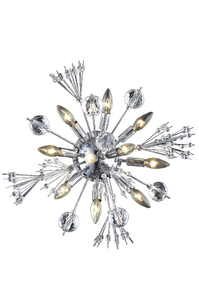 Elegant Lighting Cyclone Light Chrome Wall Sconce Clear Elegant Cut Crystal