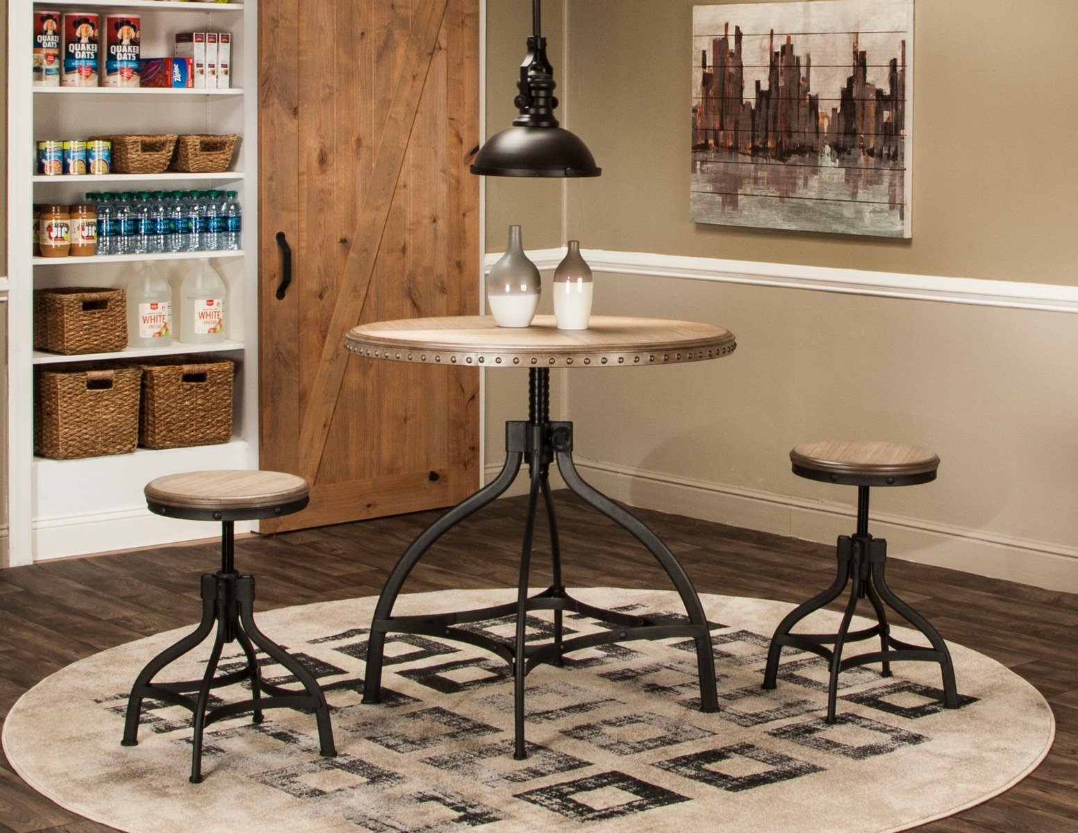 Sunset Trading 3 Piece Industrial Revolution Adjustable Height Dining Set - Sunset Trading CR-T2011-65-3PC