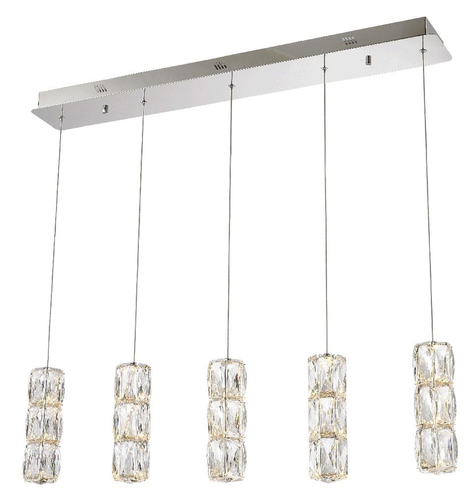 Elegant Lighting Polaris Led Light Chrome Pendant Clear Elegant Cut Crystal
