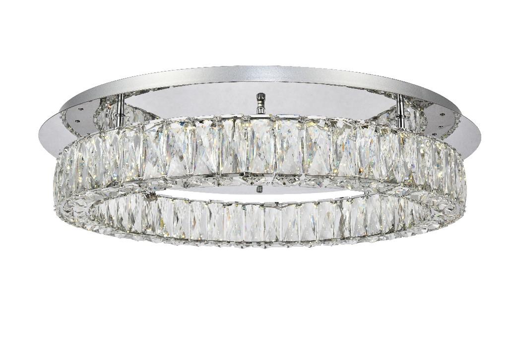 Elegant Lighting Monroe Led Light Chrome Flush Mount Clear Royal Cut Crystal
