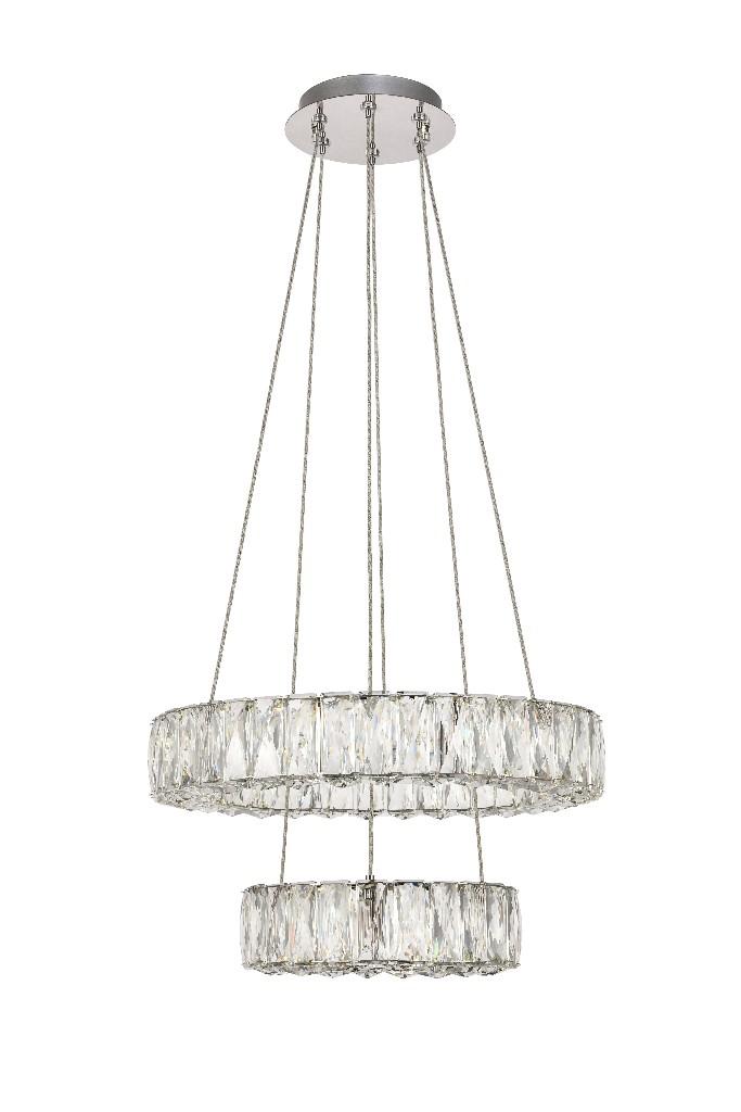 Elegant Lighting Monroe Integrated Led Chip Light Chrome Pendant Clear