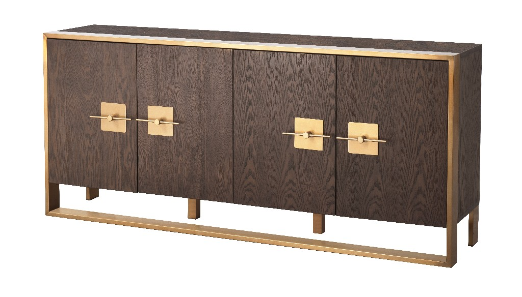 Coast To Coast Midas Four Door Media Credenza Midas Brown Gold