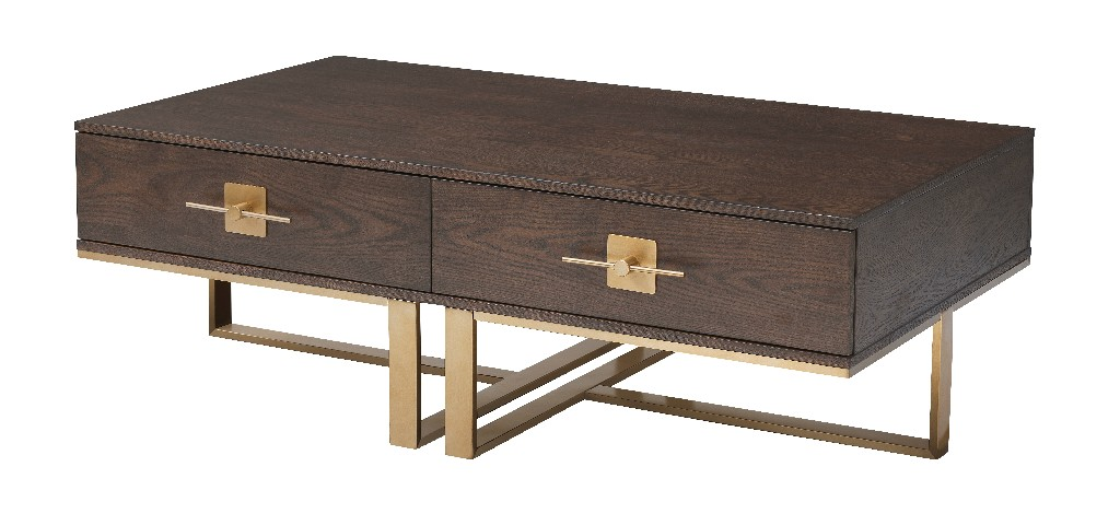 Coast To Coast Midas Two Drawer Cocktail Table Midas Brown Gold