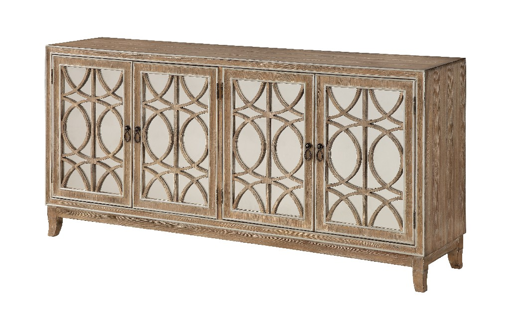 Coast To Coast Four Door Media Credenza Gabriel Light Brown Metallic