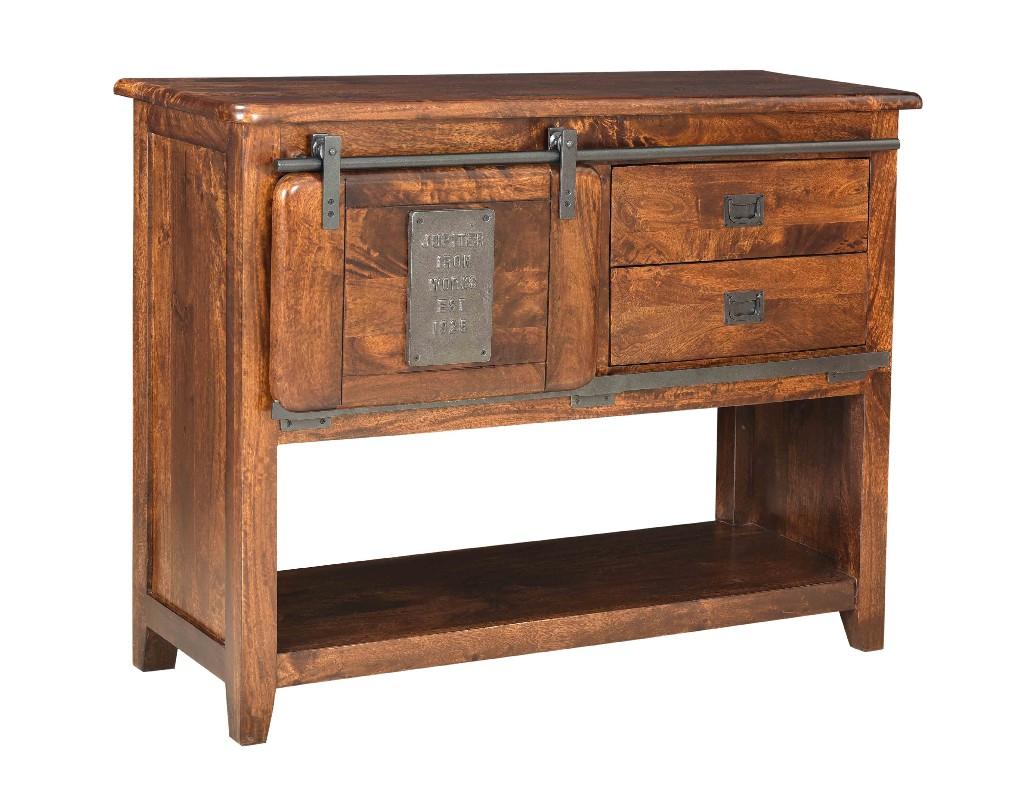 Coast To Coast One Sliding Door Two Drawer Cabinet Warm Brown Mango