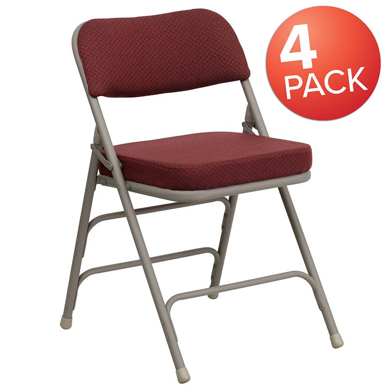 Furniture   Hercules   Burgundy   Fabric   Series   Double   Brace   Hinge   Flash   Metal   Chair   Fold