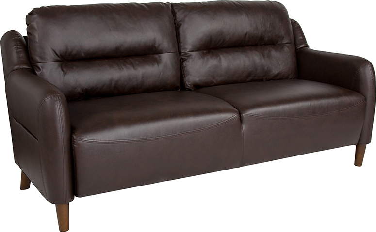 Flash Hill Upholstered Bustle Back Sofa Brown Leather Flash