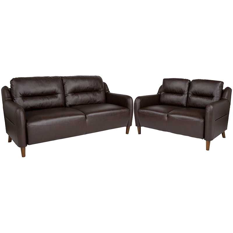 Hill Upholstered Bustle Back Loveseat Sofa Set Brown Leather Flash