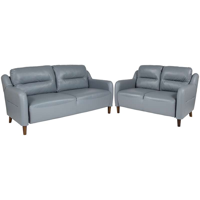 Flash Upholstered Bustle Back Loveseat Sofa Set