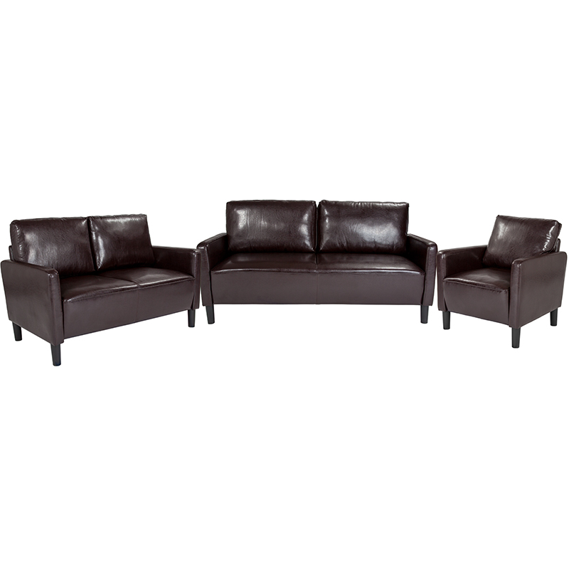 Flash Upholstered Set Brown Leather Flash Sl Sf Set Brn Gg