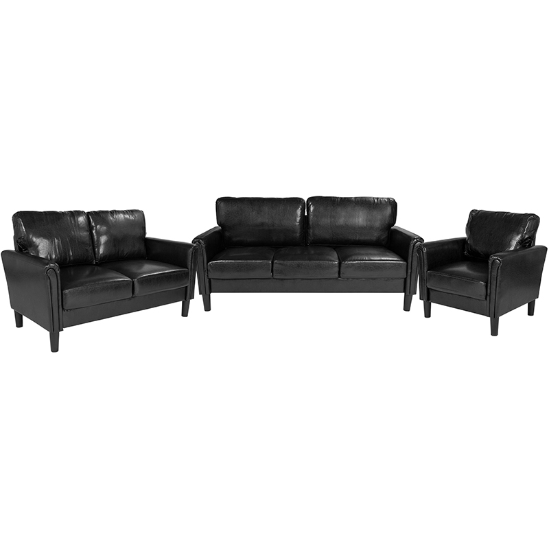 Flash Bari Upholstered Set Black Leather Flash Sl Sf Set Gg