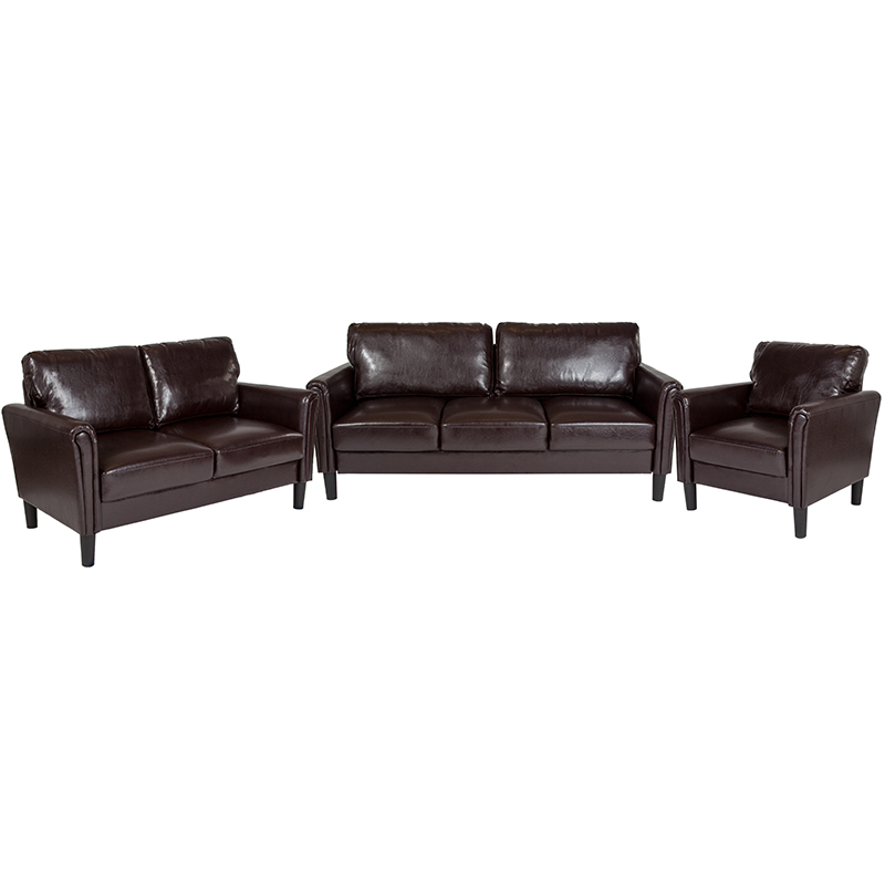 Flash Bari Upholstered Set Brown Leather Flash Sl Sf Set Brn Gg