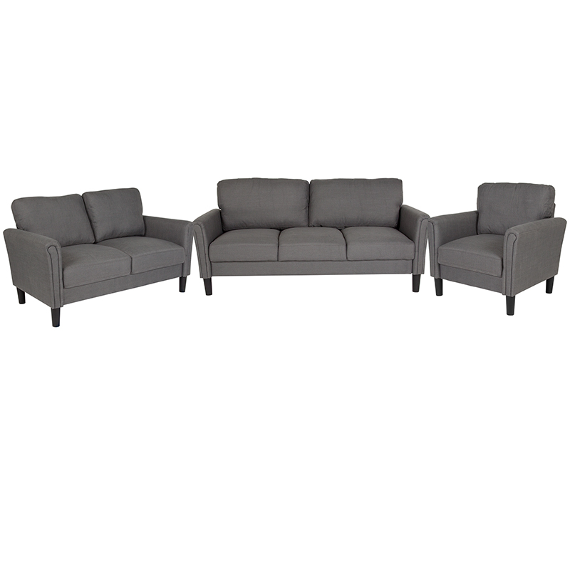 Flash Bari Upholstered Set Dark Gray Fabric Flash Sl Sf Set Dgy Gg