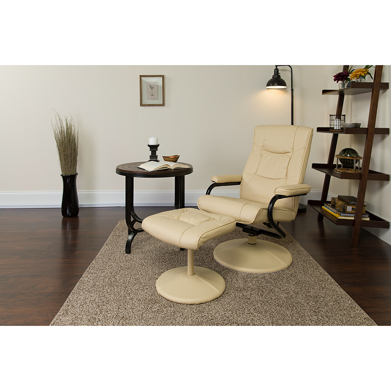 Contemporary | Furniture | Recline | Ottoman | Leather | Flash | Cream
