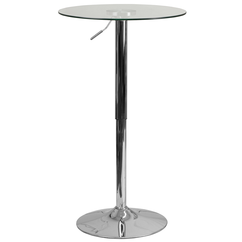 23.5'' Round Adjustable Height Glass Table (Adjustable Range 33.5'' - 41'') - Flash Furniture CH-5-GG