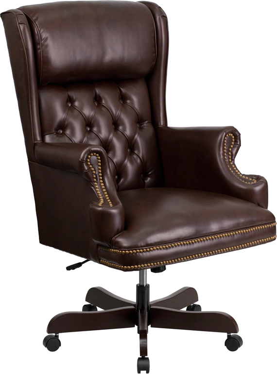 Flash High Back Traditional Tufted Brown Leather Executive