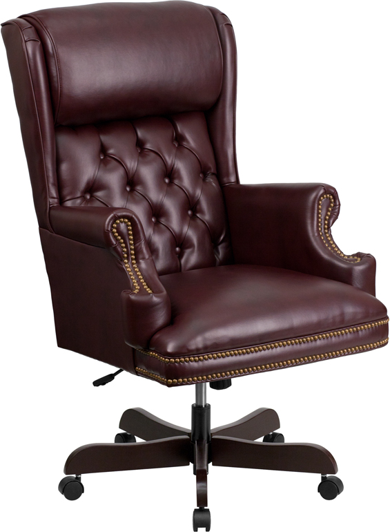 Flash High Back Traditional Tufted Burgundy Leather Executive